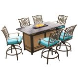 7-Piece High-Dining Bar Set in Blue with 30,000 BTU Fire Pit Bar Table