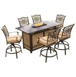 7-Piece High-Dining Bar Set in Tan with 30,000 BTU Fire Pit Bar Table