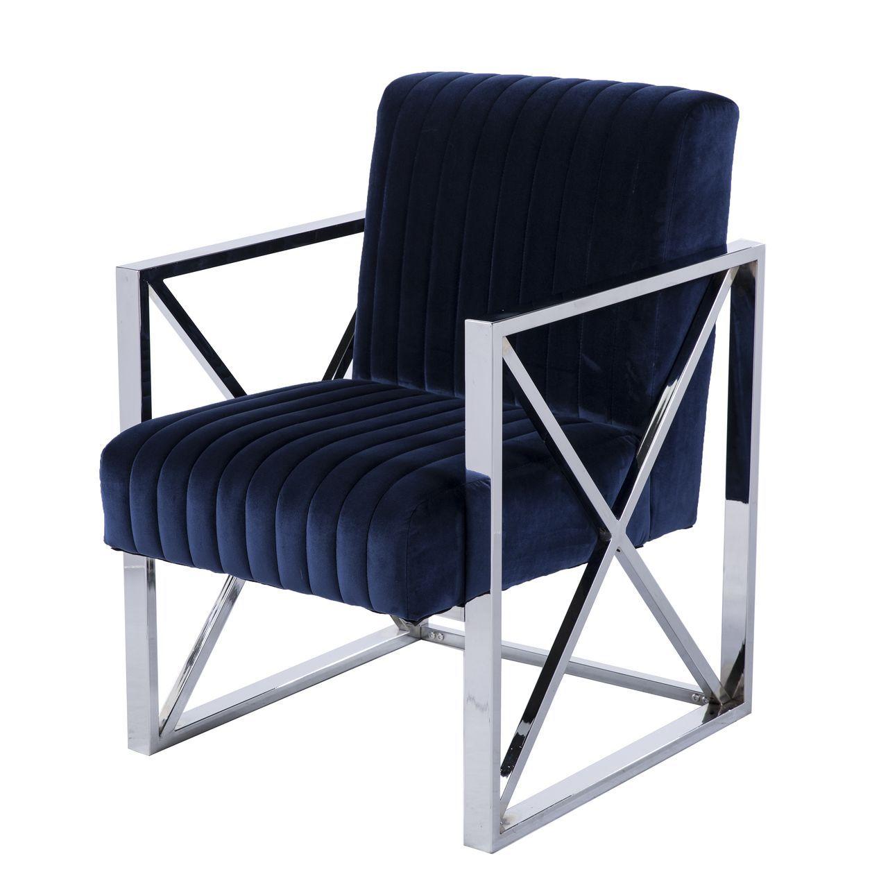 SEI Ellison Velveteen Modern Glam Chair and Ottoman in Blue / Chrome