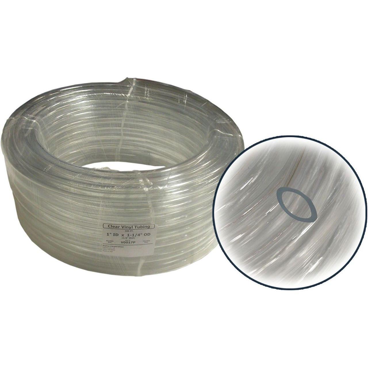 Alpine V0017P PVC Clear Tubing - 1'' ID x 1.256''OD Wall x 100' Coil