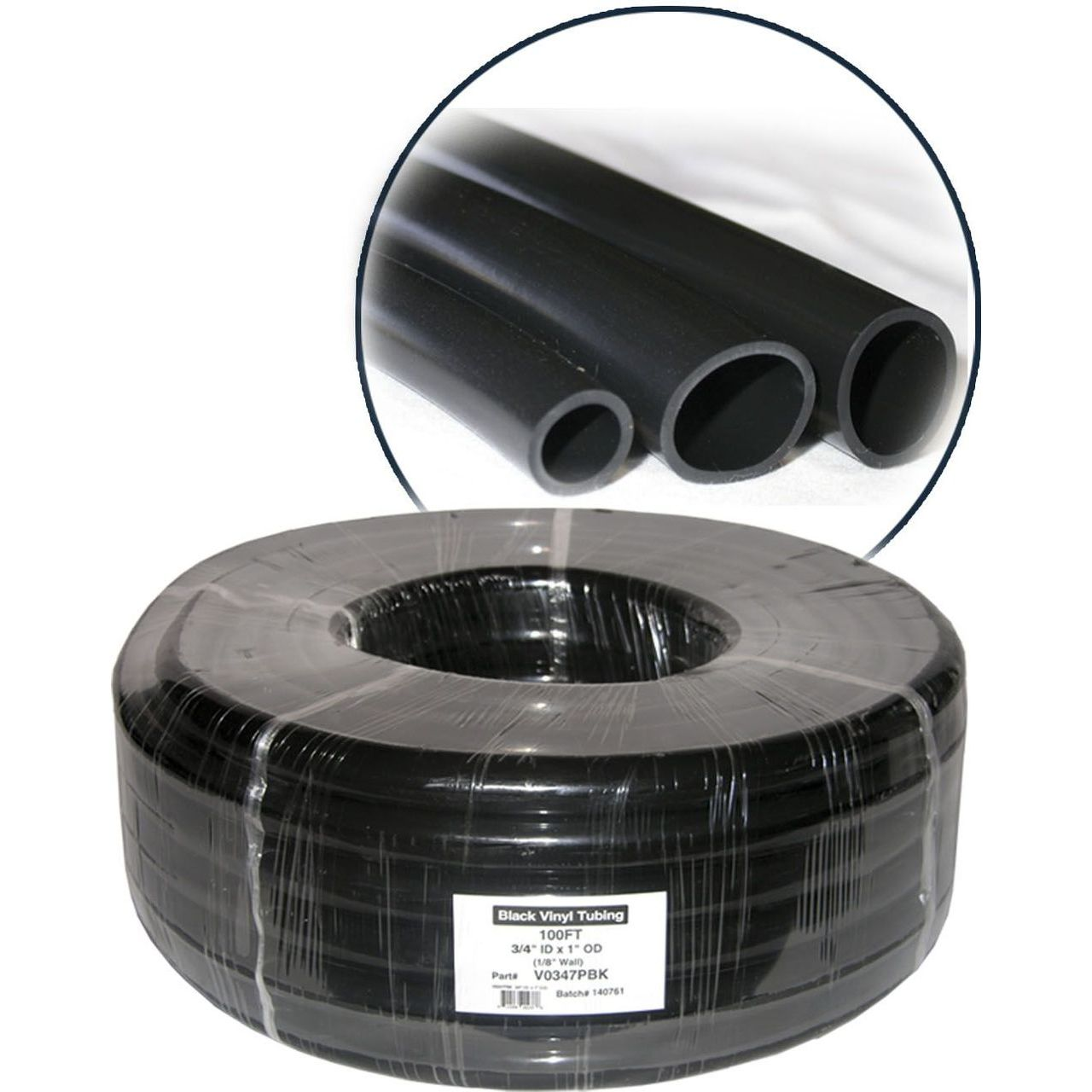 Alpine V0347PBK PVC Black Tubing - 3/4'' ID x 1''OD x 1/8'' Wall x 100' Coil