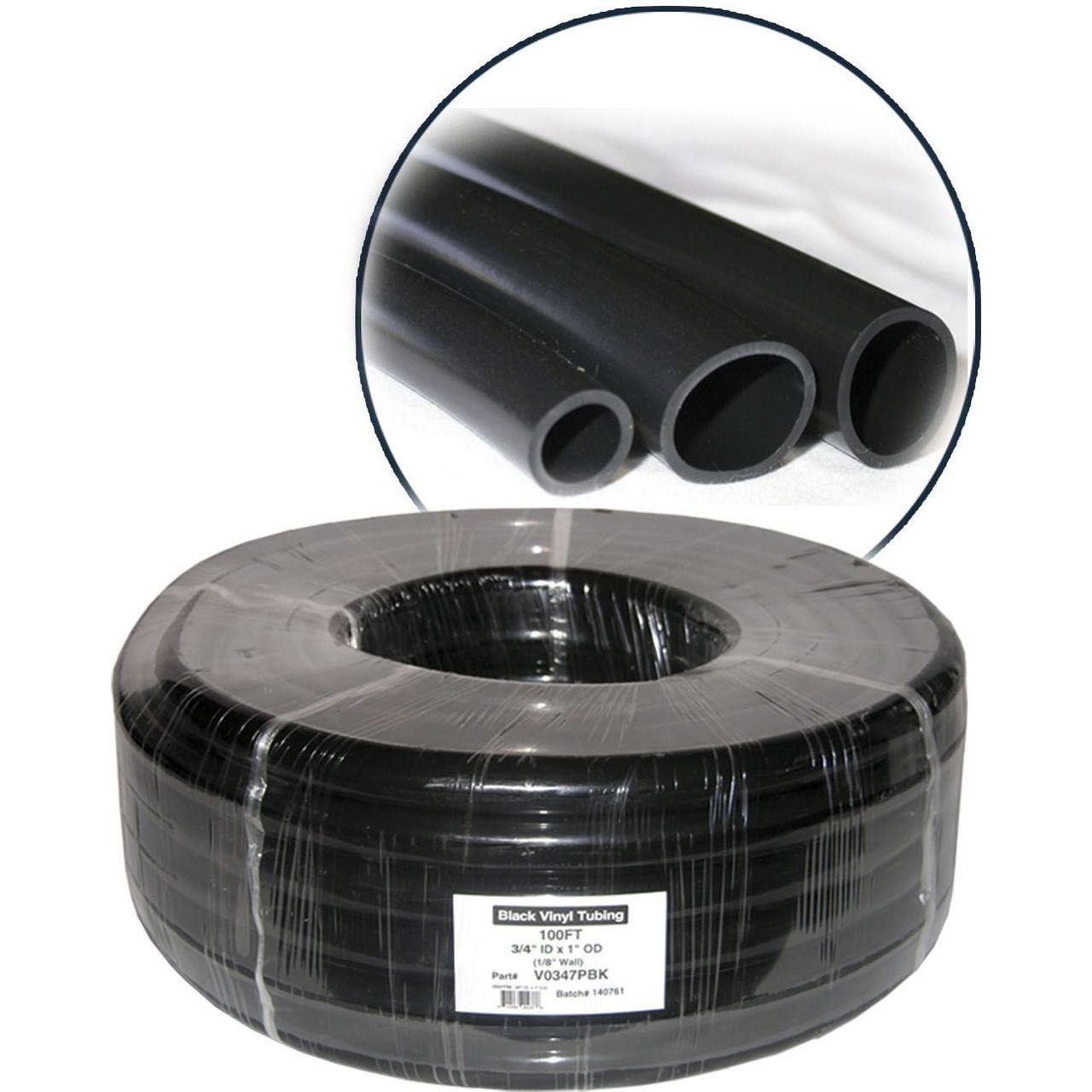 Alpine V0383PBK PVC Black Tubing - 0.375'' ID x  1/2'' OD x1/16'' Wall x 100' Coil