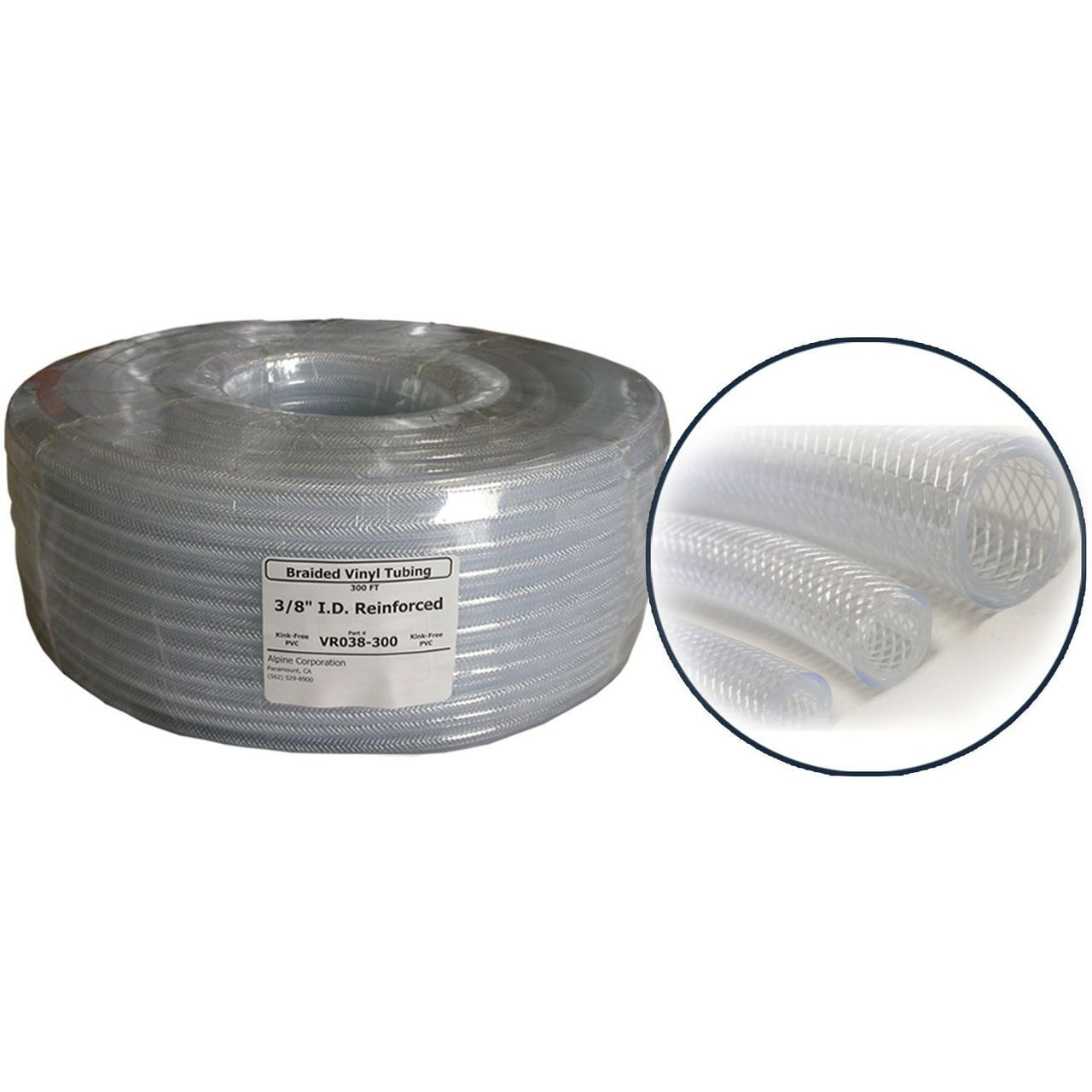 Alpine VR001 PVC Clear Braided Tubing - 1'' ID x  1.320''OD x 100' Coil