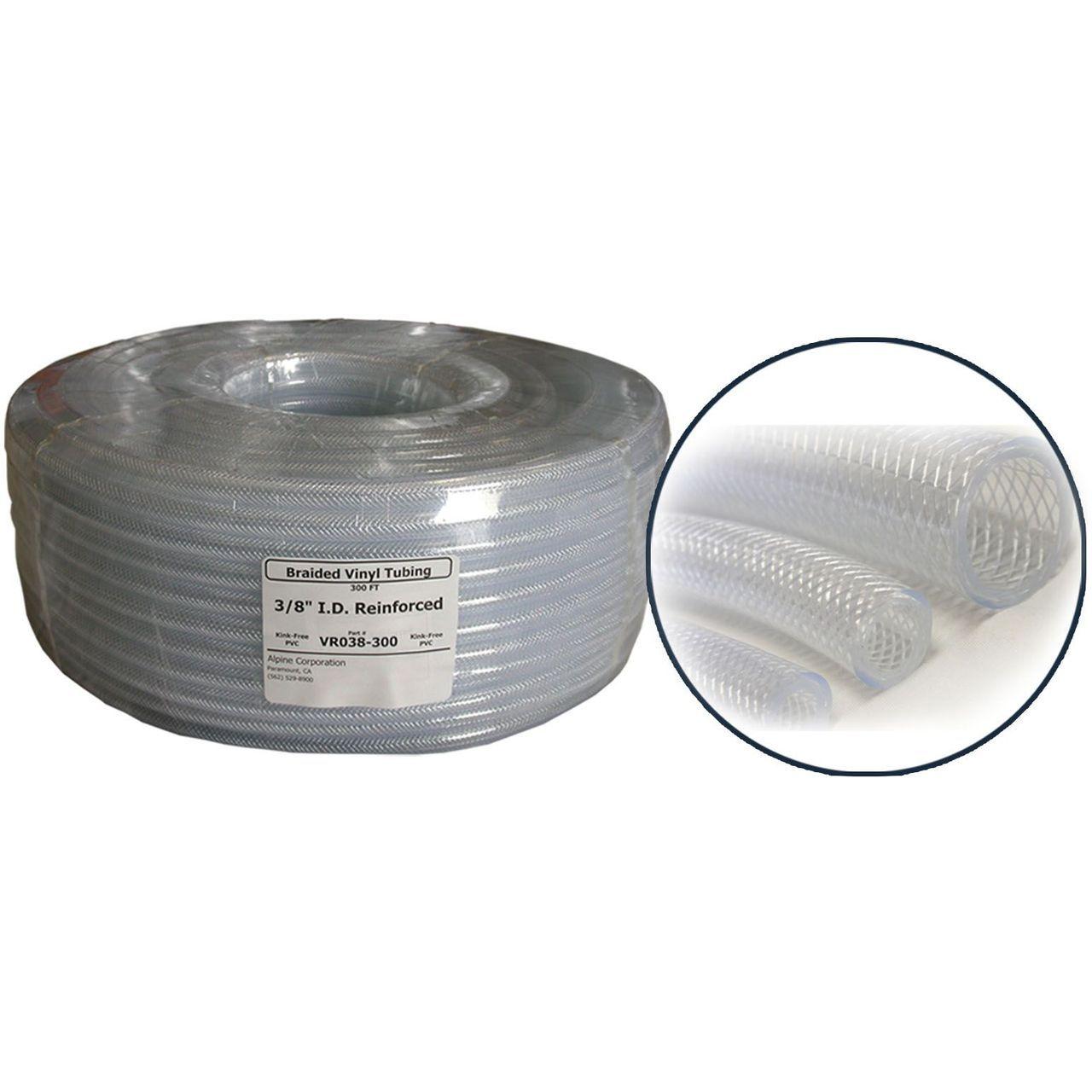 Alpine VR038 PVC Clear Braided Tubing - 0.375'' ID x  0.594''OD x 100' Coil