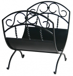 Black Wrought Iron Log Rack W/ Scrolls