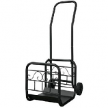 Large Black Wrought Iron Log Rack With Wheel And Removable Cart