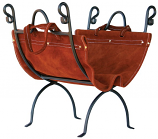 W1196- Olde World Iron Log Holder With Suede Leather Carrier