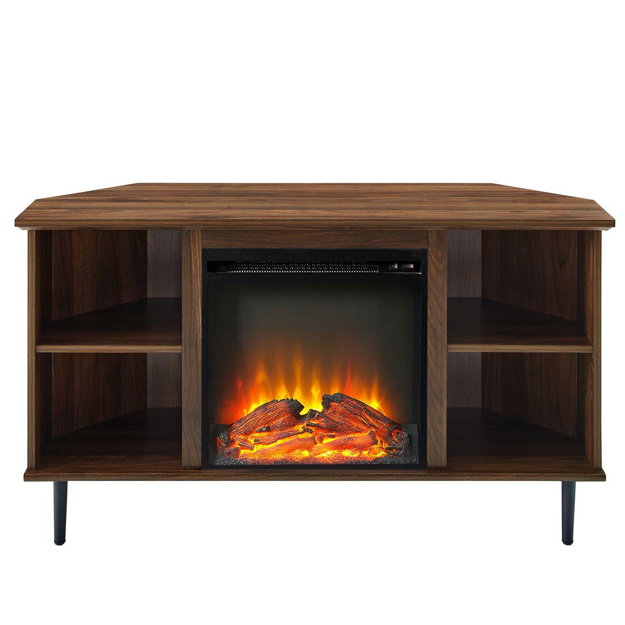 "Walker Edison Clyde 48"" Simple Corner Fireplace Console - Dark Walnut"