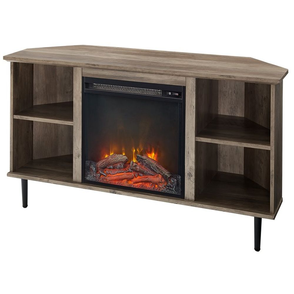 """Walker Edison Clyde 48"""" Simple Corner Fireplace Console - Grey Wash"""