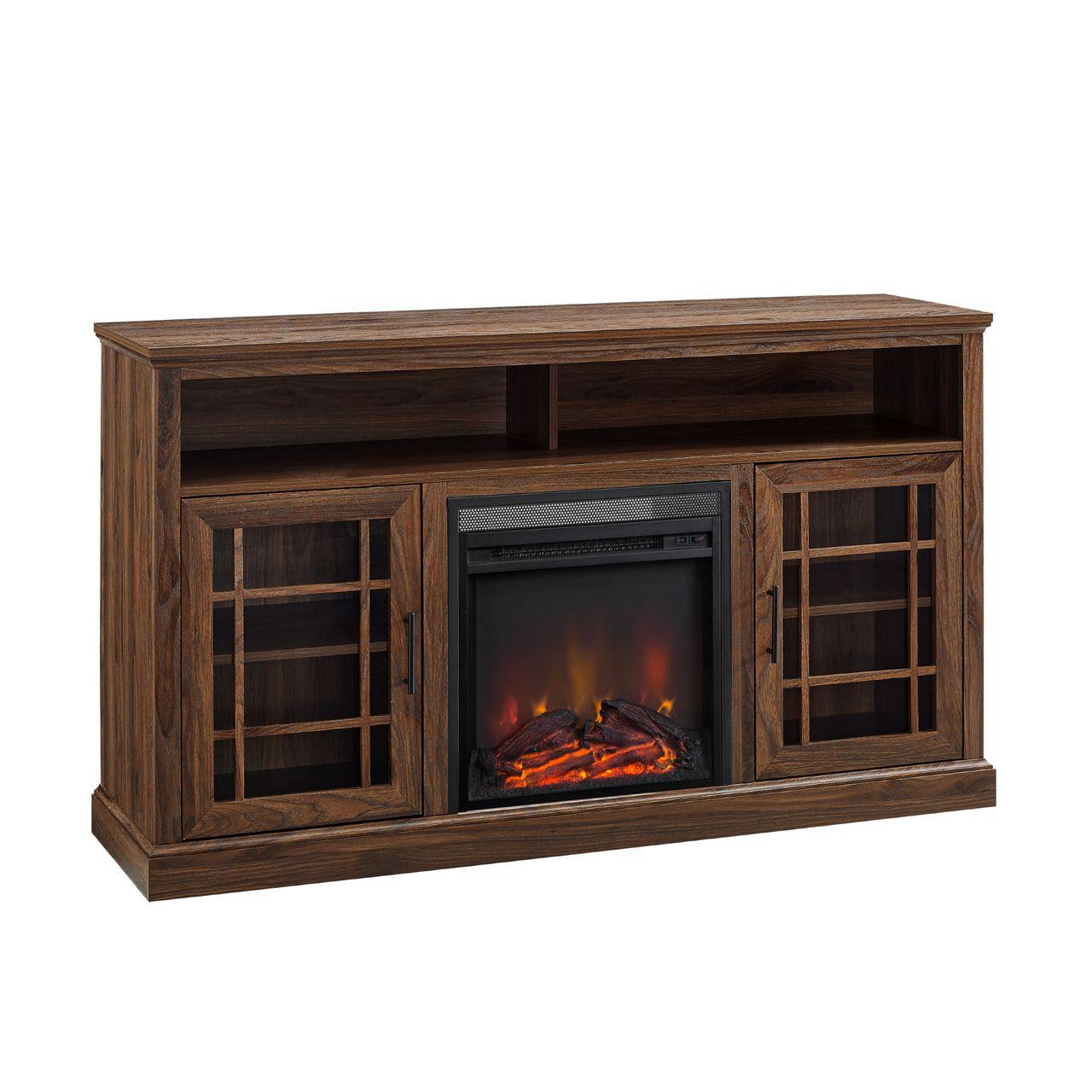 "Walker Edison Hazel 58"" Highboy Fireplace TV Stand - Dark Walnut"