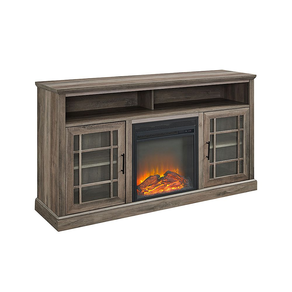 "Walker Edison Hazel 58"" Highboy Fireplace TV Stand - Grey Wash"