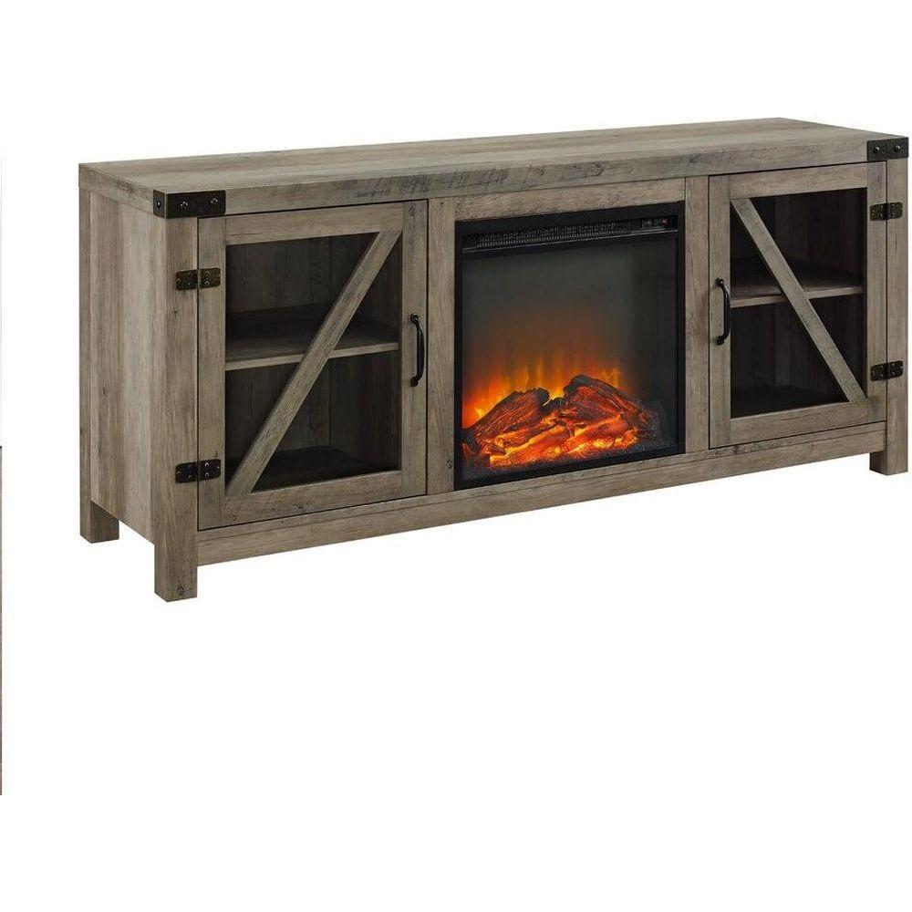 "Walker Edison 58"" Glass Barn Door Fireplace Console - Grey Wash"
