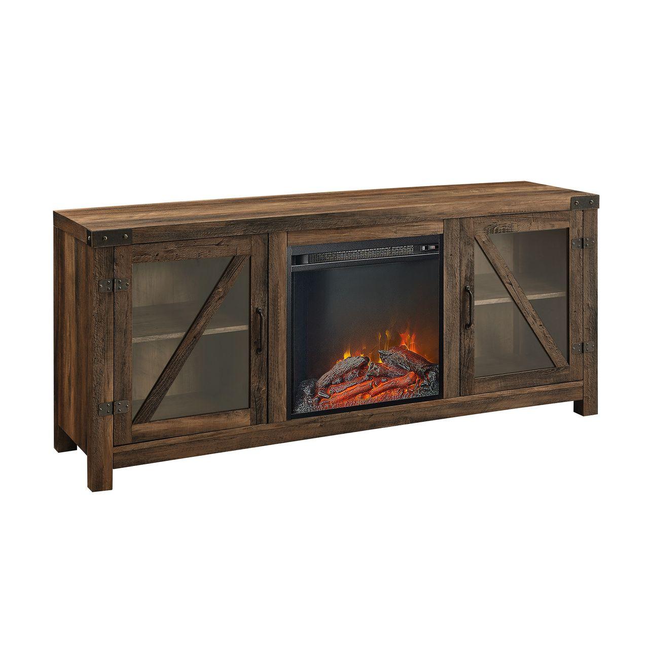 "Walker Edison 58"" Glass Barn Door Fireplace Console - Barnwood"