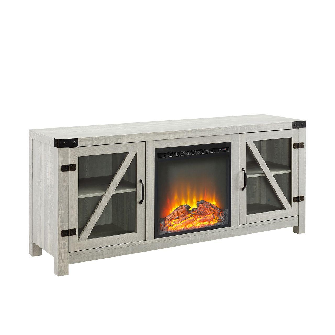 "Walker Edison 58"" Glass Barn Door Fireplace Console - Stone Grey"