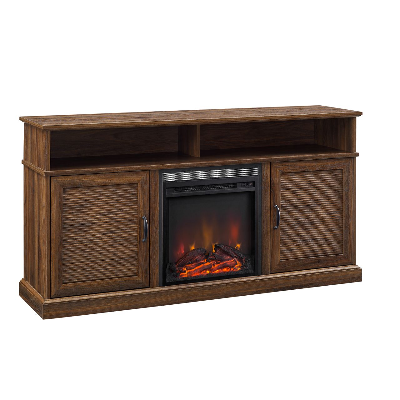 "Walker Edison Dayton 60"" Highboy Fireplace TV Stand - Dark Walnut"