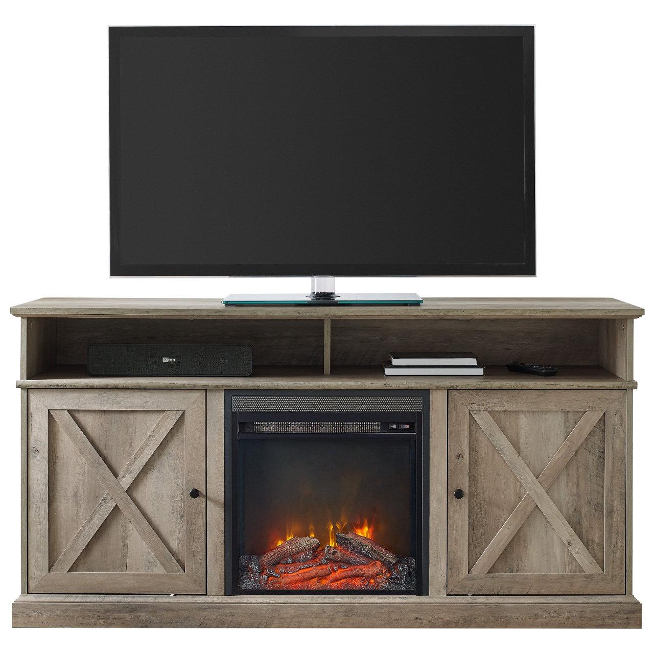 "Walker Edison Cherrington 60"" Tall Fireplace TV Stand - Grey Wash"