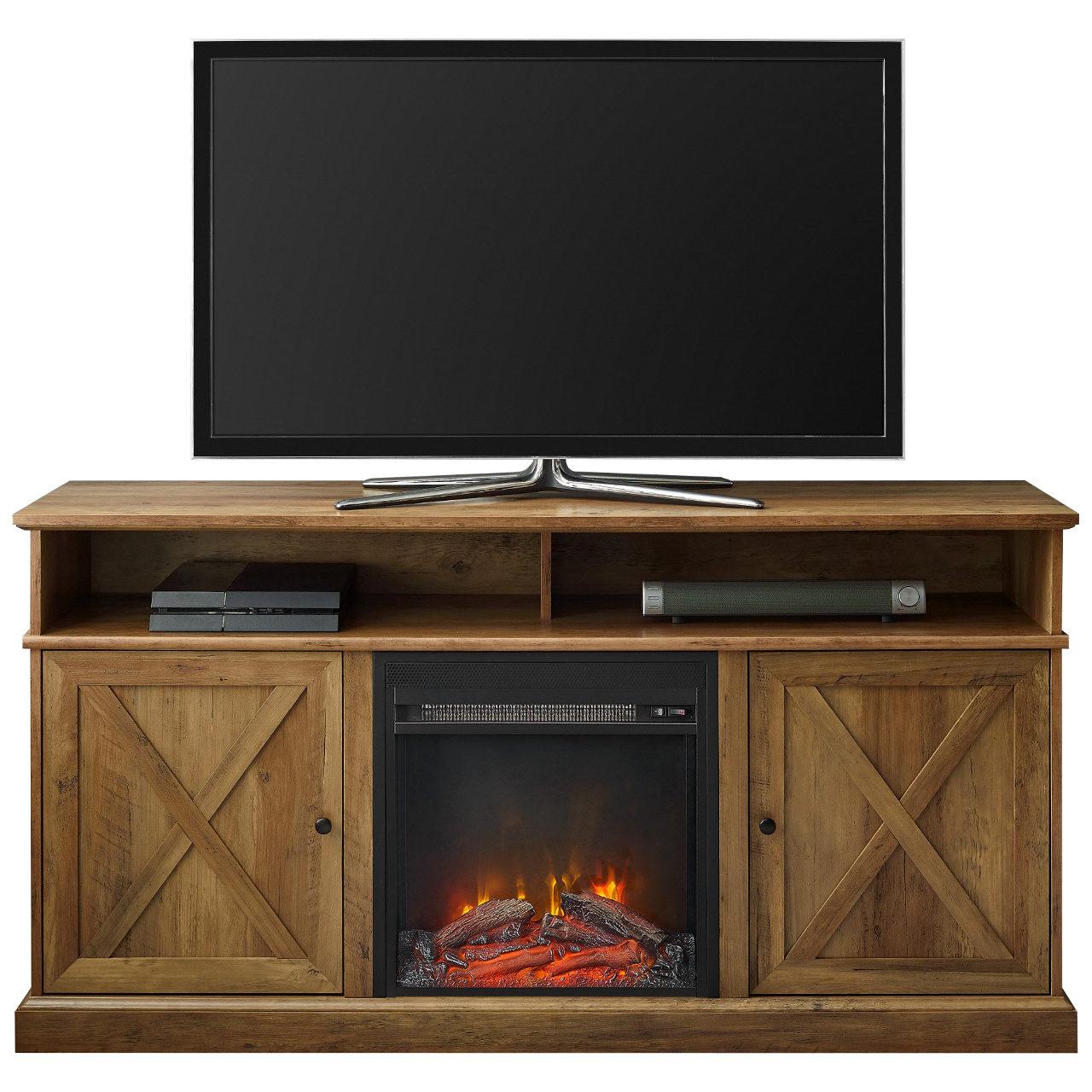 "Walker Edison Cherrington 60"" Tall Fireplace TV Stand - Barnwood"