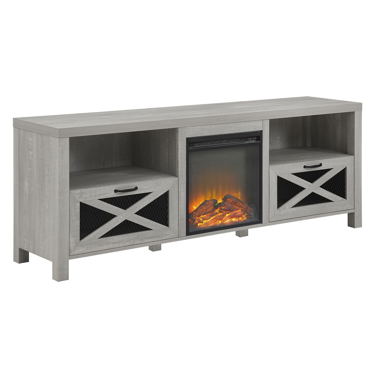 "Walker Edison Abilene 70"" Farmhouse Fireplace TV Stand - Stone Grey"