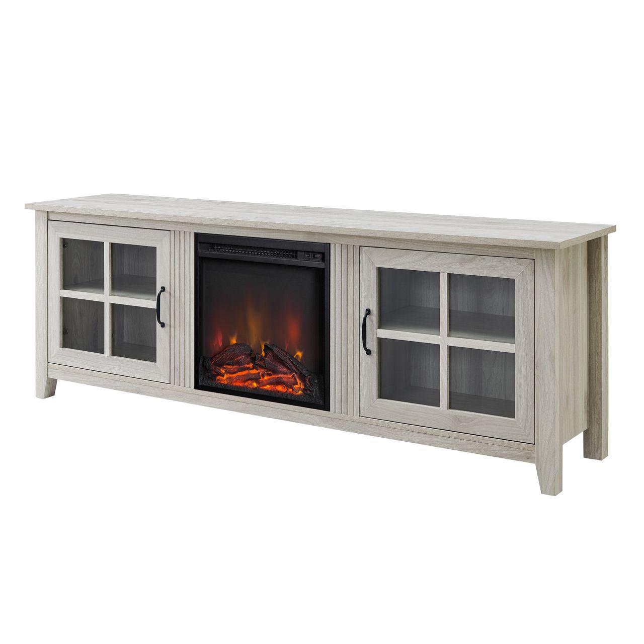 "Walker Edison 70"" Glass Door Fireplace TV Console - Birch"