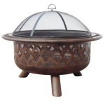 Wood Burning Oil Rubbed Bronze Fire Bowl With Criss-Cross Design