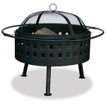 Wood Burning Aged Bronze Fire Bowl With Square Cut Out Design