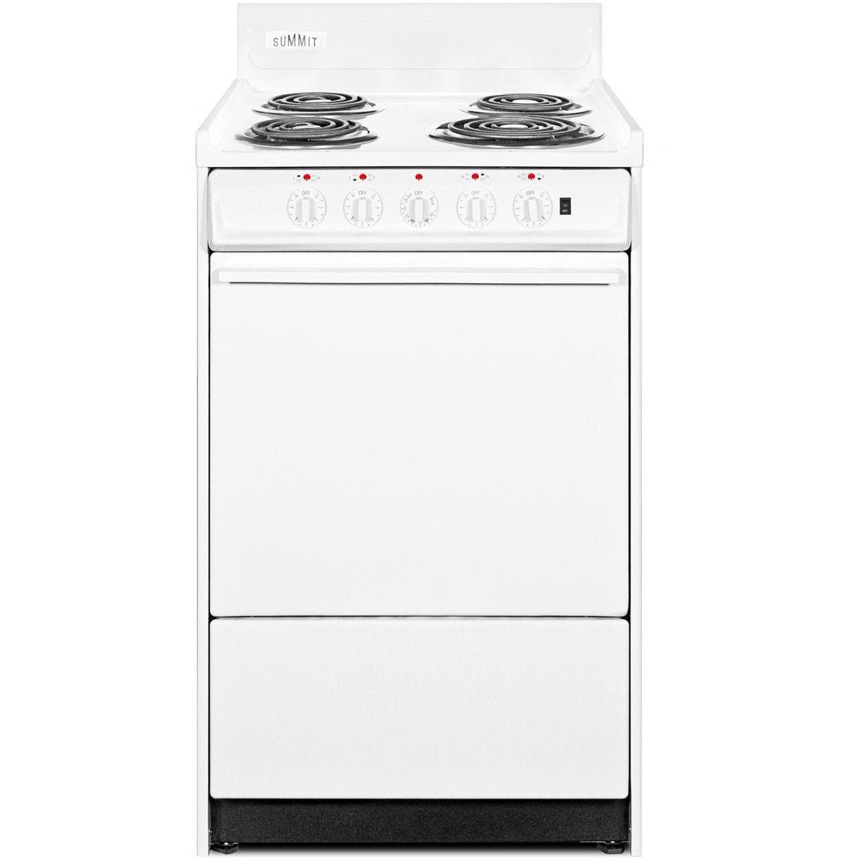 Summit WEM1171Q 20''W 4-Burner Electric Coil Top Range - White/White
