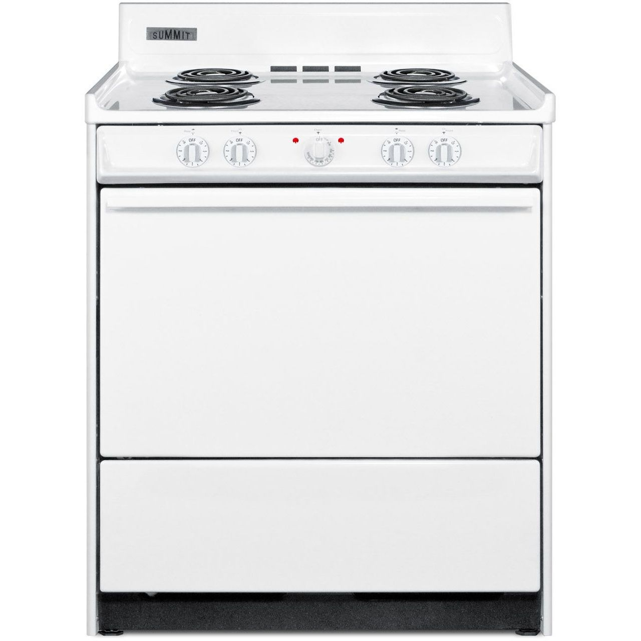 Summit WEM210 30''W 4-Burner Electric Coil Top Range - White/White