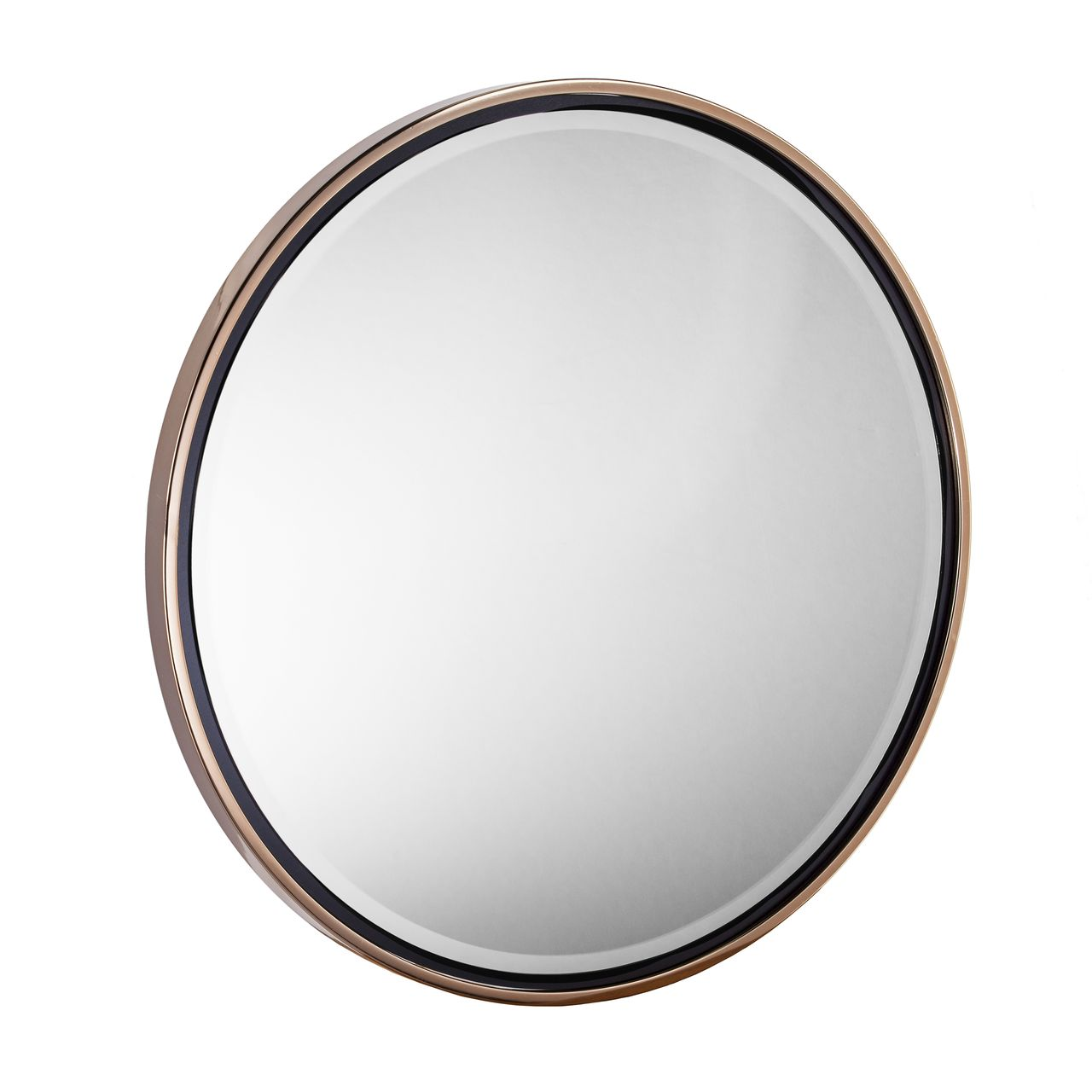 Holly & Martin Wais Round Wall Mirror in Champagne Gold / Black