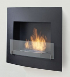Wynn Wall Mounted or Built in Fireplace - Matte Black and Matte Black