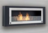 Santa Cruz Wall Mounted Fireplace - Matte Black and Stainless Steel