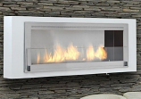 Santa Cruz Wall Mounted Fireplace - Gloss White and Stainless Steel