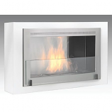 Montreal Wall Mounted Fireplace - Gloss white Interior Stainless Steel