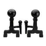 Ball Andirons in Black By Minuteman