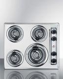 Summit ZEL03 24'' Wide 230V 4-Burner Coil Cooktop - Chrome