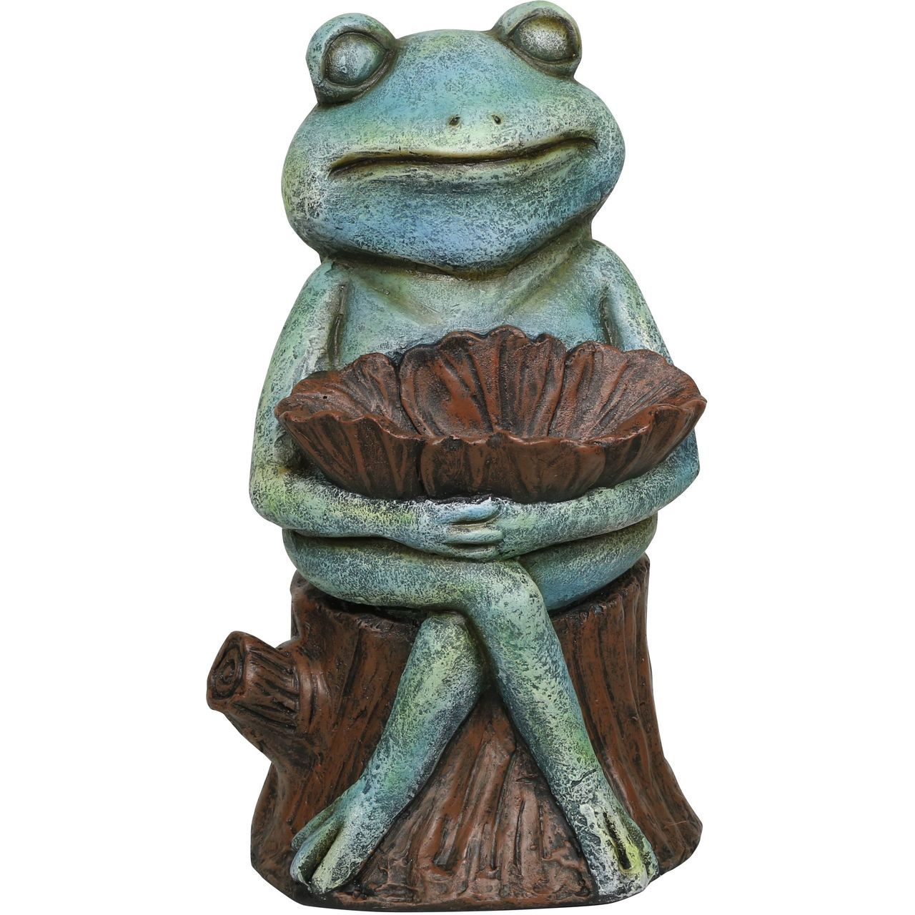Alpine ZEN714 Sitting Turquoise-Colored Frog Garden Statue with Flower