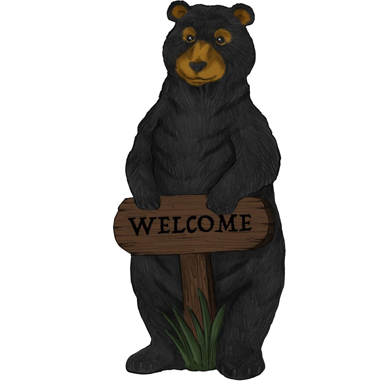 Alpine ZEN732 Standing Black Bear Garden Statue with Welcome Sign