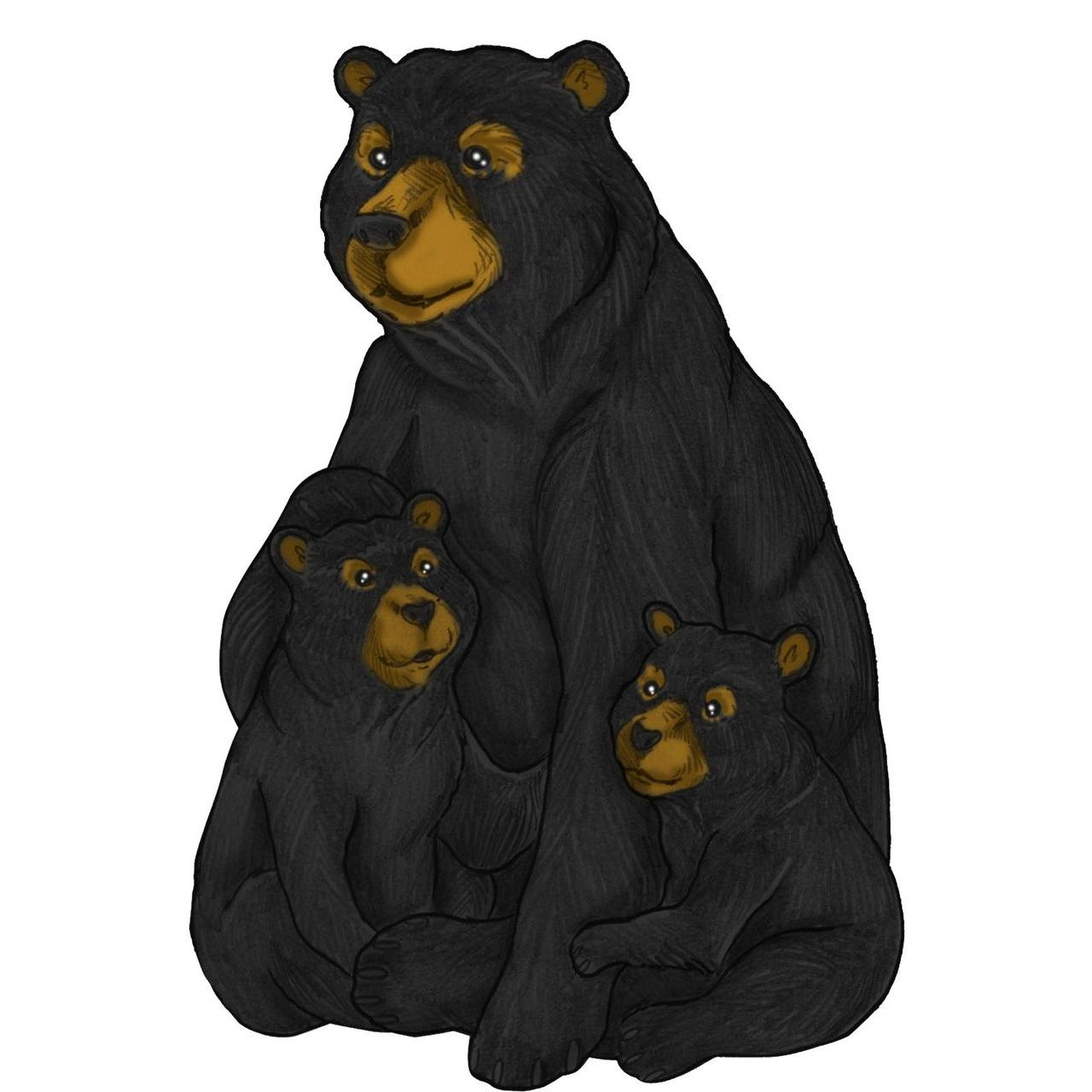 Alpine ZEN734 Sitting Mother Black Bear and Baby Cubs Garden Statue