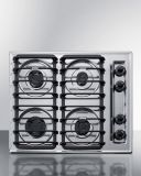 Summit ZTL033S 24'' Wide 4-Burner Gas Cooktop - Chrome