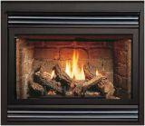 B-Vented MV Gas Fireplace w/Burnt Oak Logs and Black Grill Kit - LP