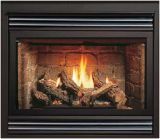 B-Vented MV Gas Fireplace w/Burnt Oak Logs and Black Grill Kit - NG
