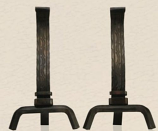 Decorative Forged Andirons - Black