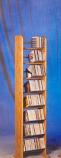 Solid Oak 8 Row Dowel Tower CD Rack
