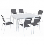 "7-Piece Dining Set with 6 Sling Chairs and 78"" x 40"" Dining Table"