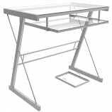 Ryan Rove RR1053 Becker Metal and Glass Computer Desk in Silver