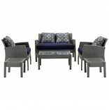 Almo SOPH6PC-NVY Sophie 6-Piece Space-Saving Patio Set in Navy