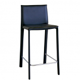 Baxton Studio Crawford Black Leather Counter Height Stool-Set of 2