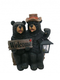 Solar Couple of Bears with Lantern and Welcome Sign