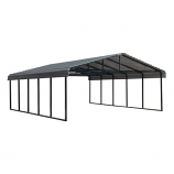 Arrow Galvanized Steel Carport in Charcoal - 20' x 24' x 7'