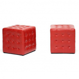 Set of 2 Siskal Red Modern Cube Ottoman