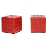 Set of 2 Siskal Red Modern Cube Ottoman